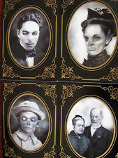 "set of 4 halloween haunted 3d effect pictures /photos in frames 7"" x 5"""