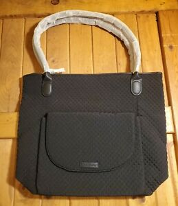 Vera Bradley Carson North South Quilted Black Tote Top Zip Leather Handle New!