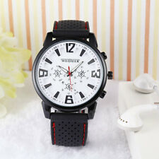 New Silicone Men Black White Sport Casual Wrist Watch Military Smart UK Seller