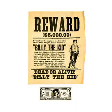 1 set of 2 Billy the Kid wanted poster and paper money reproductions