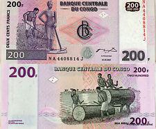 CONGO AFRIQUE Billet neuf  200 FRANCS 2007   UNC labour et musique