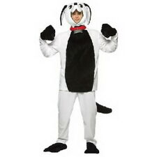 Dog Costume Adult 5 Pc White & Black Pants Top Headpiece & Shoe Covers Lg