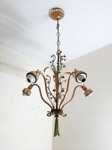 Chandelier Italian Pendant light Ceiling Lamp 5 Light Metal Iron Golden color