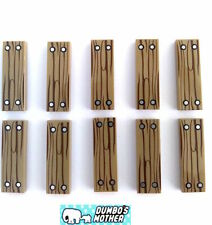 100% LEGO 10) Tiles Dark Tan Wood Grain PRINTED 1x3 Tile 4 Silver Nails Pattern