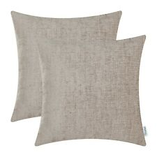 2Pcs Taupe Cushion Cover Pillow Shell Case Solid Dyed Soft Chenille Decor 18X18""