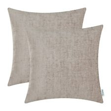 2Pcs Taupe Cushion Covers Pillows Shells Solid Dyed Soft Chenille 20x20 Inches