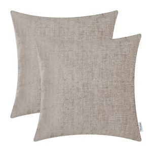 """2Pcs Taupe Cushion Cover Pillow Shell Case Solid Dyed Soft Chenille Decor 18X18"""""""
