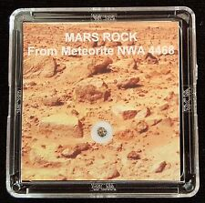 AUTHENTICATED MARTIAN METEORITE- Deluxe 12mg Mars Rock Art Display with Easel  l
