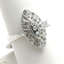 Vintage Reproduction long oval handmade New 14k white gold Diamond Ring
