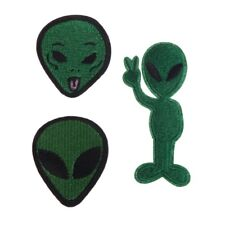3pcs for Clothing Stripes Motif Appliques Parches Cartoon Aliens Iron on Patches