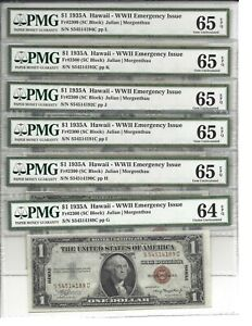 Six Sequential - 1935-A $1 Silver Certificate, Hawaii, PMG 64/65 EPQ