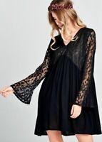 VELZERA BOHO BLACK LACE GYPSY BLOUSON BABYDOLL MINI DRESS TUNIC POCKETS S M L
