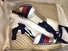 NEW $650 Gucci Lilibeth Sylvie Platform Wedge Espadrille Sandals Shoes EU 36