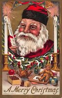Christmas Postcard Santa Claus Lighting Candles Teddy Bear Doll Toy Holly~114401