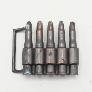 Brass Belt Buckle Bullet Machine Gun Military Vintage