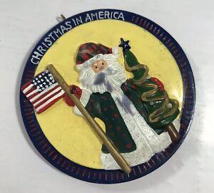 Christmas in America Ornament Santa USA Flag Holiday Tree Decoration Patriotic