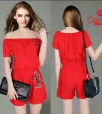 Off Shoulder Summer Time Embroidered Romper (Red)