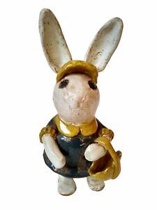 Hand Made Pottery Anthropomorphic Bunny Rabbit Dress Purse Basket OOAK WHISTLE!