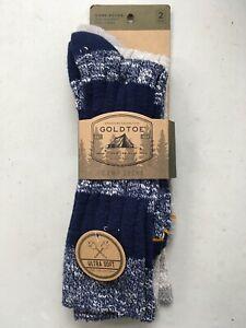 Gold Toe Ultra Soft Camp Socks 2 Pair Men's Shoe Size 6-12 Over The Calf Length