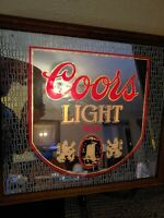 "Vintage 1980 Coors Light Beer Lighted Up Mirror Bar Sign  25"" X 20"" - Excellent"