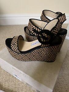 Jimmy Choo Woven Braided Raffia/ Suede Wedge Sandals Worn Once