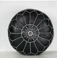 Black Moroccan Handmade Pouf Leather Pouf Ottoman Pouffe footstool *NEW*