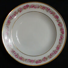 Set of 3 GDA Limoges Pink Rose & Floral Garland Porcelain Soup Plates Circa 1941