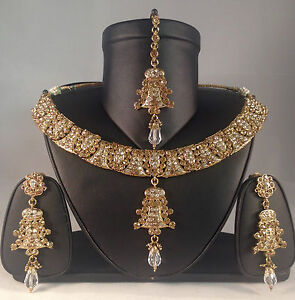 Gold Indian bride party prom bollywood,Necklace Earring & Tikka set SV14-0031