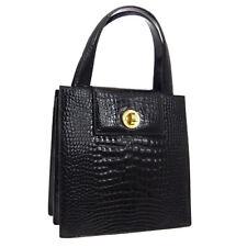 BVLGARI Logos 2way Hand Tote Bag Black Crocodile Leather Italy Vintage AK40032