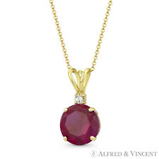 Crystal Solid 14k Yellow Gold 15x8mm Pendant Faux Ruby Red & Clear Round Cut Cz