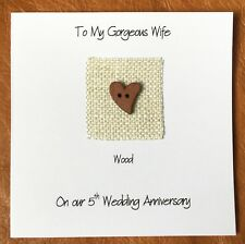 5th Wedding Anniversary Card Wood Anniversary Heart Wife Husband Him Her
