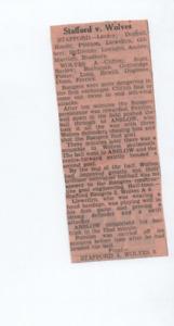 Stafford Rangers 3 Wolves 'A' 0 1949 1948/49 Birmingham Comb. press cutting