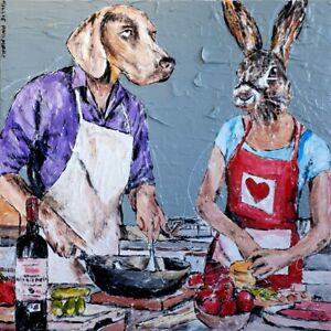 GILLIE AND MARC   Giclée Print   Rabbit Woman & Dog Man Cooking Together