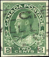 1924 Used Canada 2c Imperforate VF Scott #137 King George V Admiral Stamp