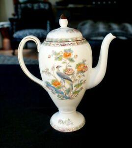 Beautiful Wedgwood Kutani Crane Brown Trim Coffee Pot