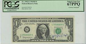 1963B $1 Federal Reserve Note FR# 1902-G PCGS 67PPQ Courtesy Autograph