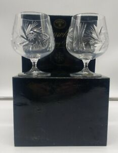Bohemia Pinwheel Brandy glasses crystal boxed Collectable