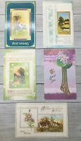 Lot Of 5 Assorted Vintage Greetings Postcards Post Cards Gold Foiled Accents