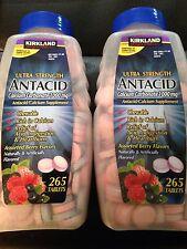 2x 265 Kirkland Ultra Strength Antacid Calcium Carbomate 1000mg Berry Flavors