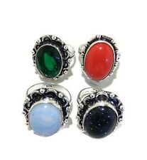 Wholesale Lot !! 4 PCs. Blue Goldstone & Coral 925 Sterling Silver Plated Ring