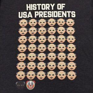 Controversial 'HISTORY OF USA PRESIDENTS' Cartoon Parody Meme T-Shirt Medium Men