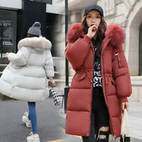 Women's Winter long Down Cotton Ladies Parka Hooded Coat Quilted Jacket Outwear