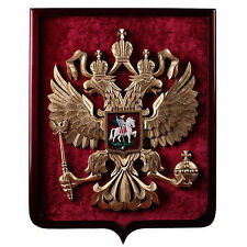 Coat of arms Russia Emblem of Russian Federation Wood velvet gold handmade - 35j
