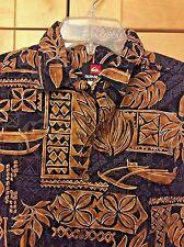 Quiksilver Boy's Black & Brown 100% Cotton Hawaiian Camp Surf Shirt 12/14 M