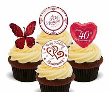 Ruby Wedding Anniversary Edible Cup Cake Toppers, Stand-up 40th Decorations