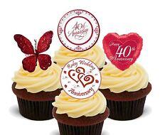 Ruby Boda Aniversario Comestibles Cup Cake toppers, decoración de stand-up 40th