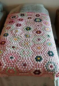 Vintage Yo Yo Handmade Quilt Top 65 x 50 PINK