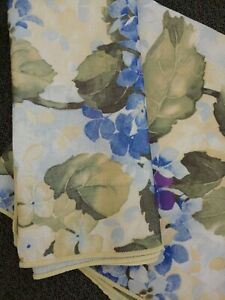 Set Of 2 Blue Hydrangea Floral Yellow Cloth Napkins 17""