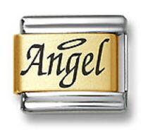 Italian Charm Bracelet Link Laser Word Angel Gold Plated Stainless Steel 9mm