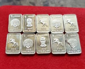 TEN (10) - 1 GRAM .999 Fine Pure Solid SILVER Mini Bullion Bar Ingots - Unicorn